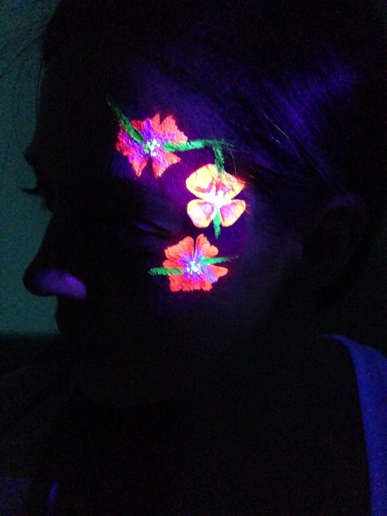 Neon Flower Rave Face Paint In The Dark