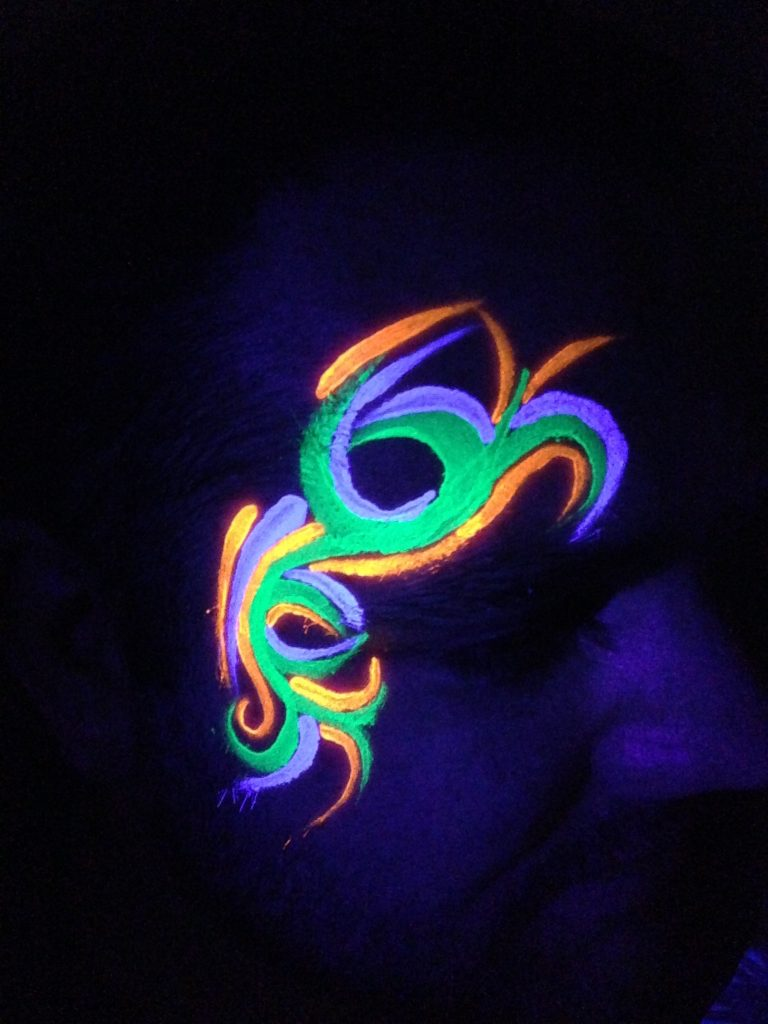 Men's Tribal Rave Face Paint In The Dark