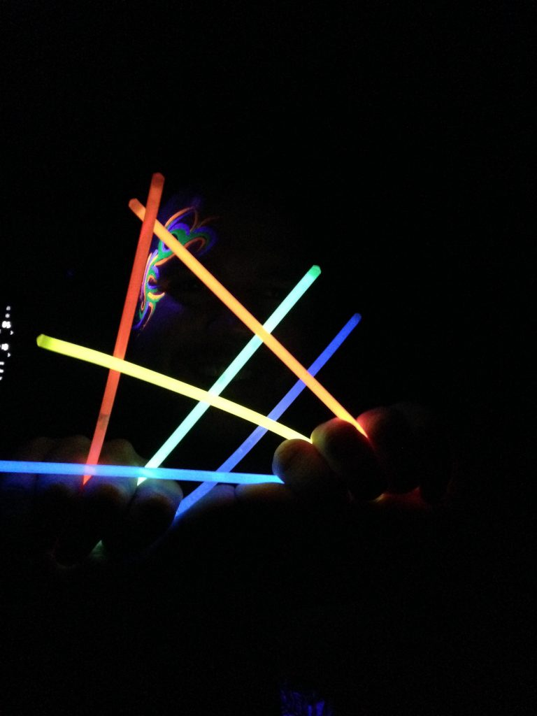 Men's Tribal Rave Face Paint In The Dark With Glow Sticks