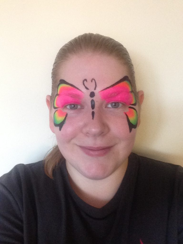 Rainbow One Stroke Butterfly Face Paint