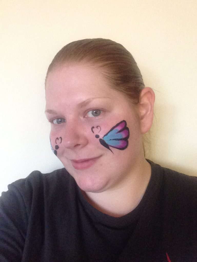 One Stroke Cheek Butterfly Face Paint