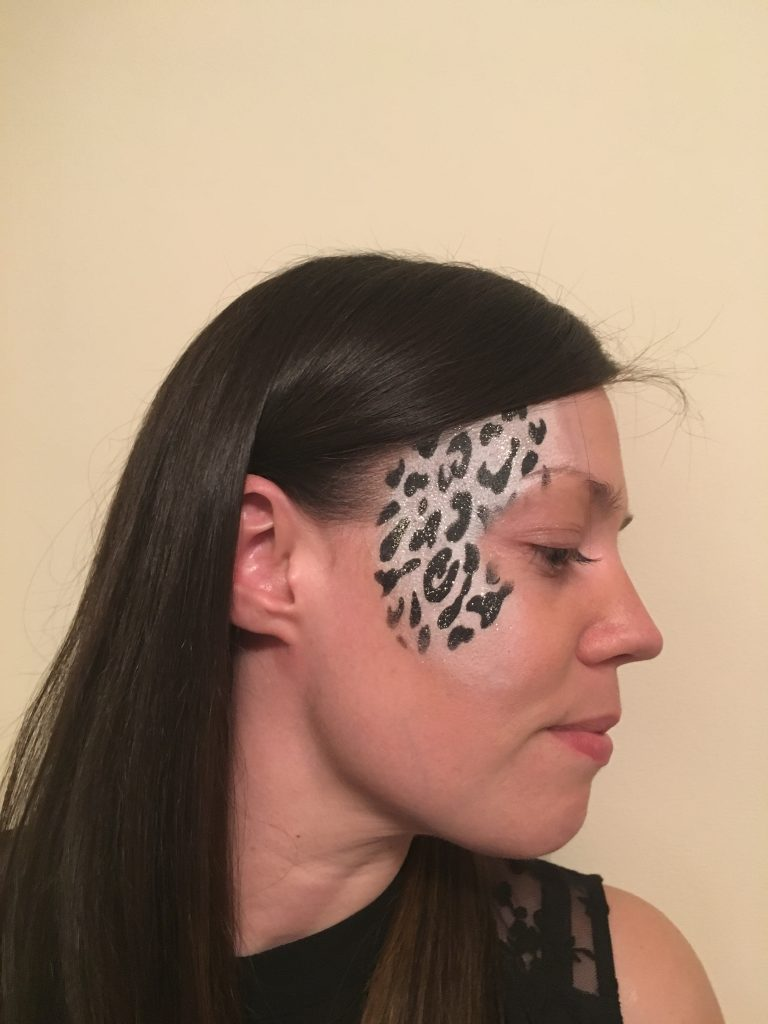 Black and White Leopard Print Face Paint