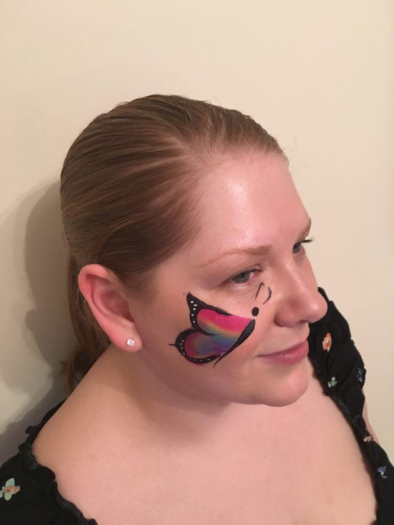 Rainbow One Stroke Cheek Butterfly Face Paint