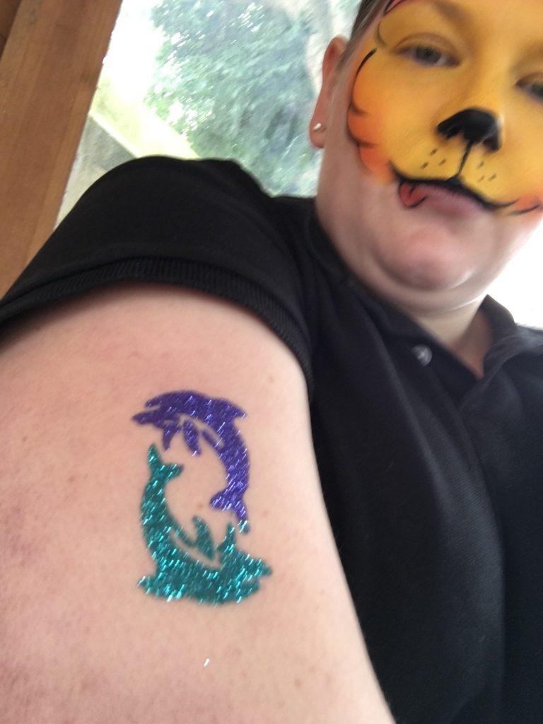 Dolphin Glitter Tattoo Design