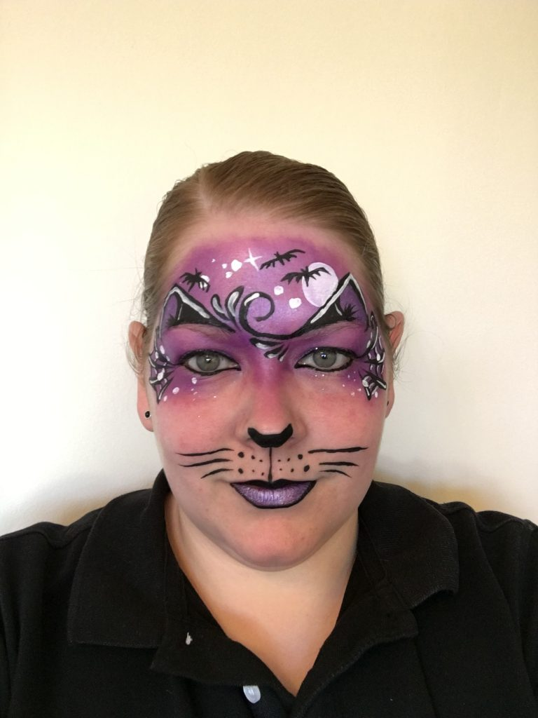 Midnight Kitty Face Painting Designs